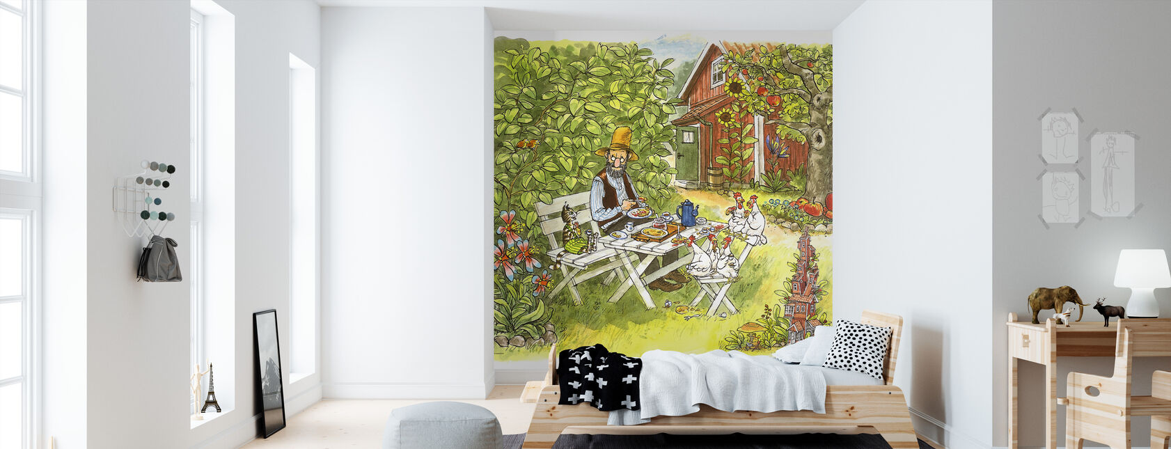 Pettson and Findus - Pancake lunch in the garden - Wallpaper - Kids Room