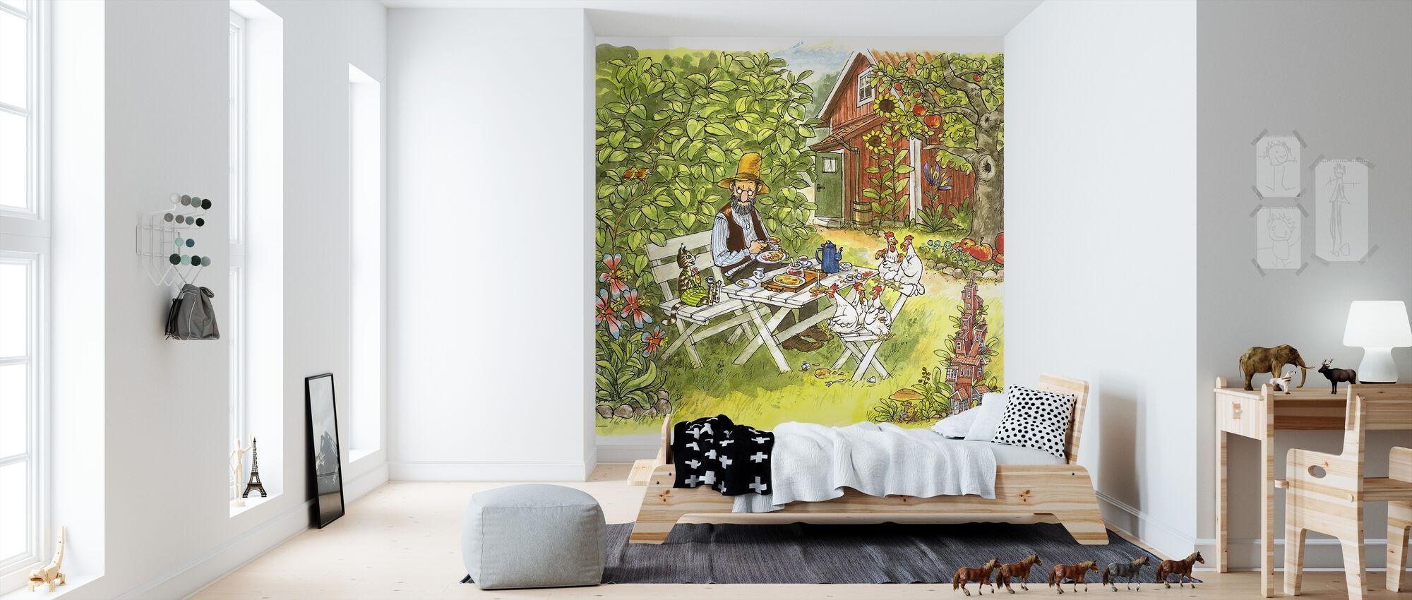 Pettson och Findus - Pannkakslunch i trädgården - Tapet - Barnrum