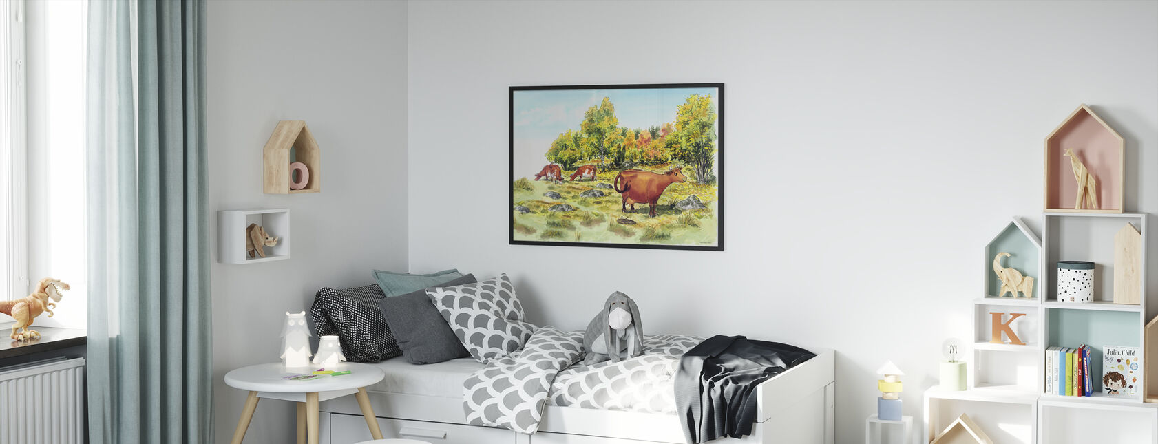 Mom Mu & Crow -Mom Mu - Framed print - Kids Room