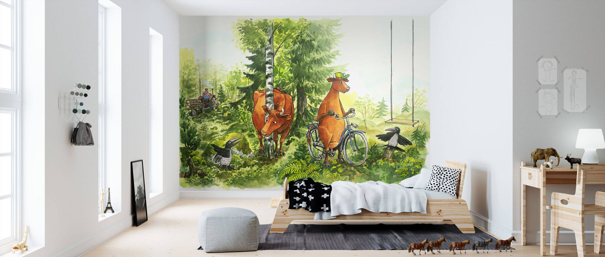 Mom Mu & Crow - What knows a cow - Wallpaper - Kids Room