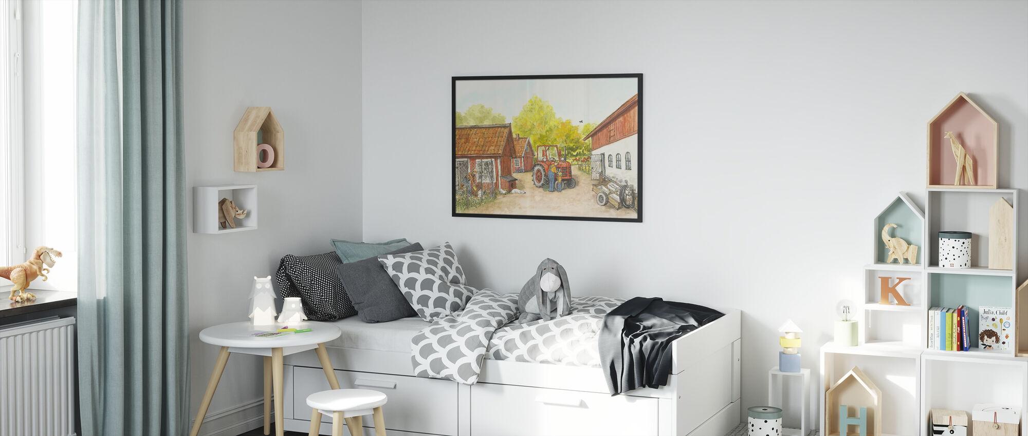 Mom Mu & Crow - The Farm - Framed print - Kids Room