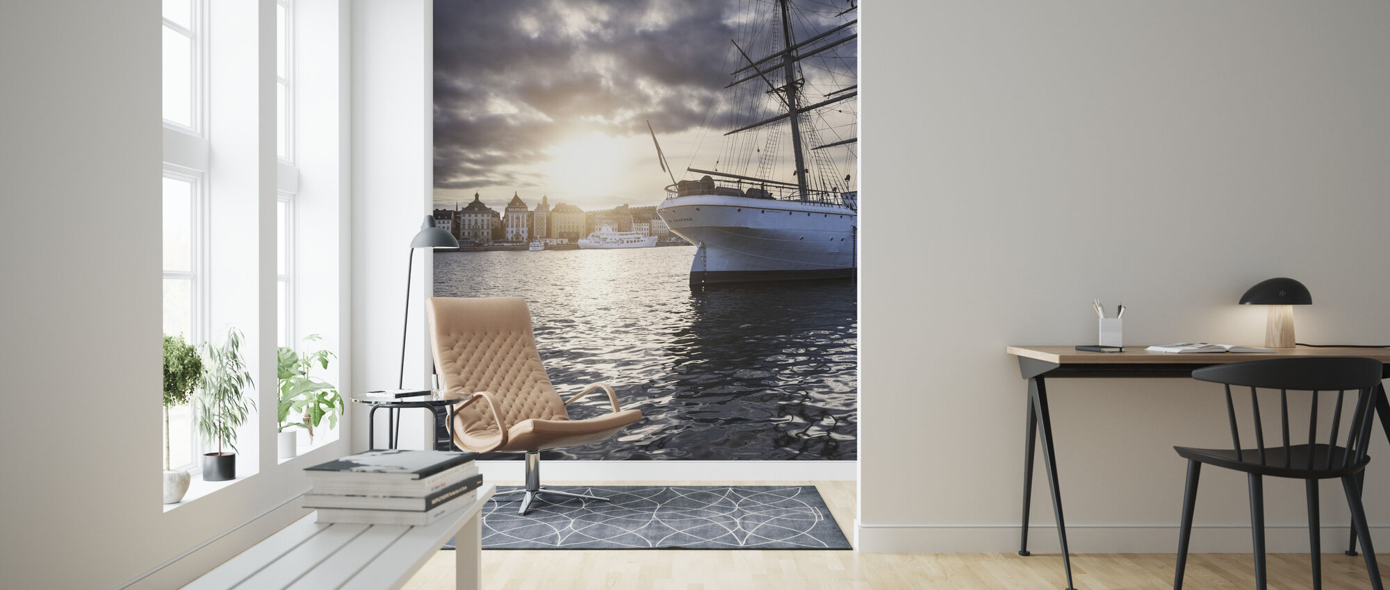 Sunset Sailboat - Wallpaper - Living Room