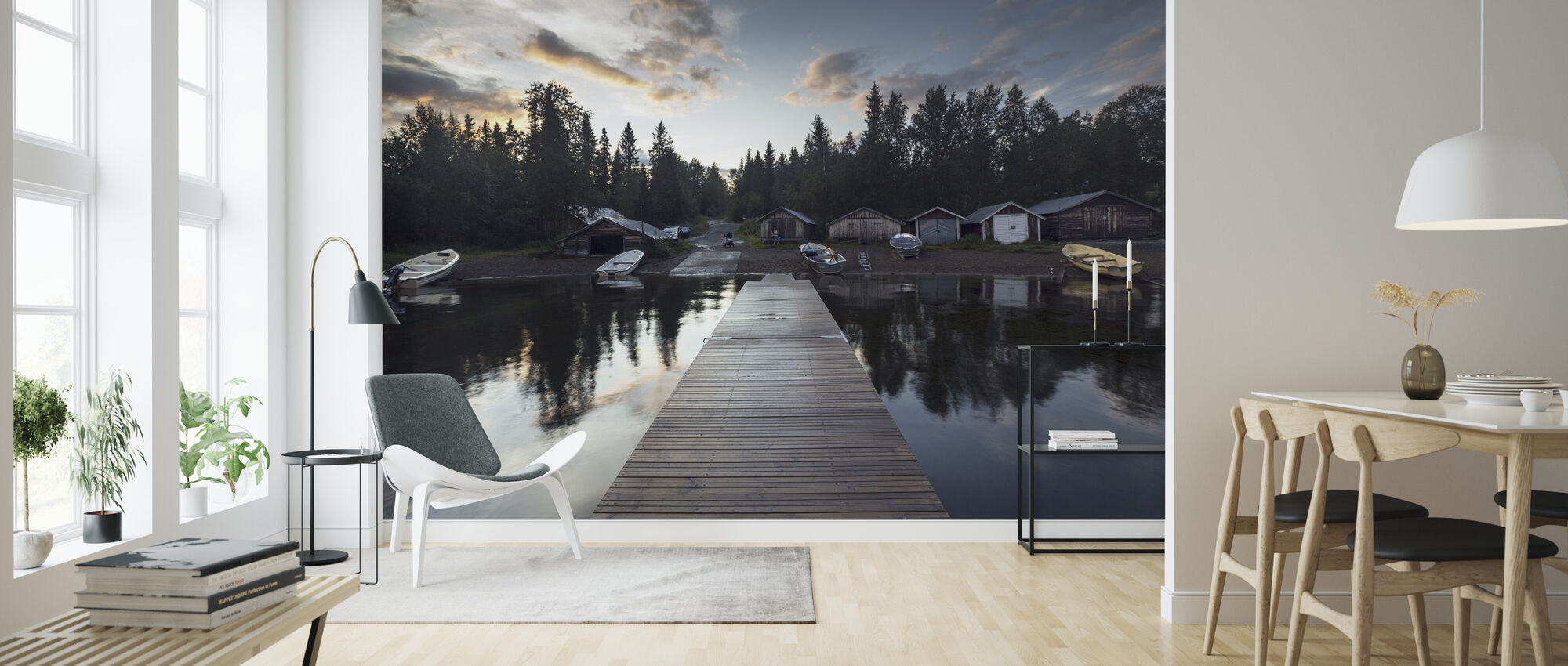Cabin and Boats - Wallpaper - Living Room