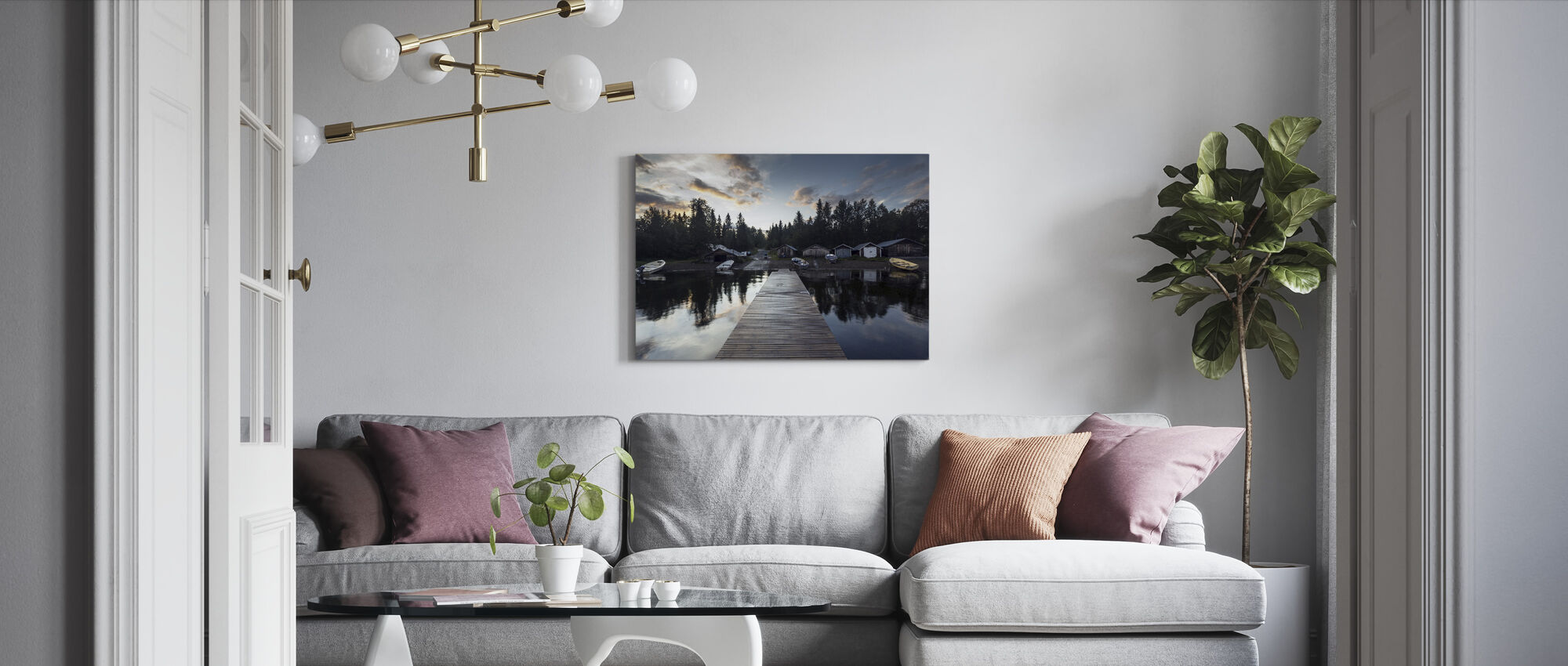 Cabin and Boats - Canvas print - Living Room