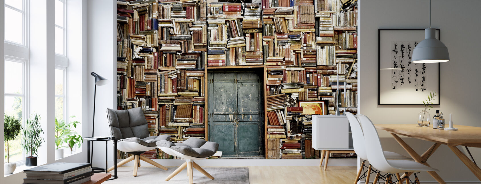 Door and Books - Wallpaper - Living Room