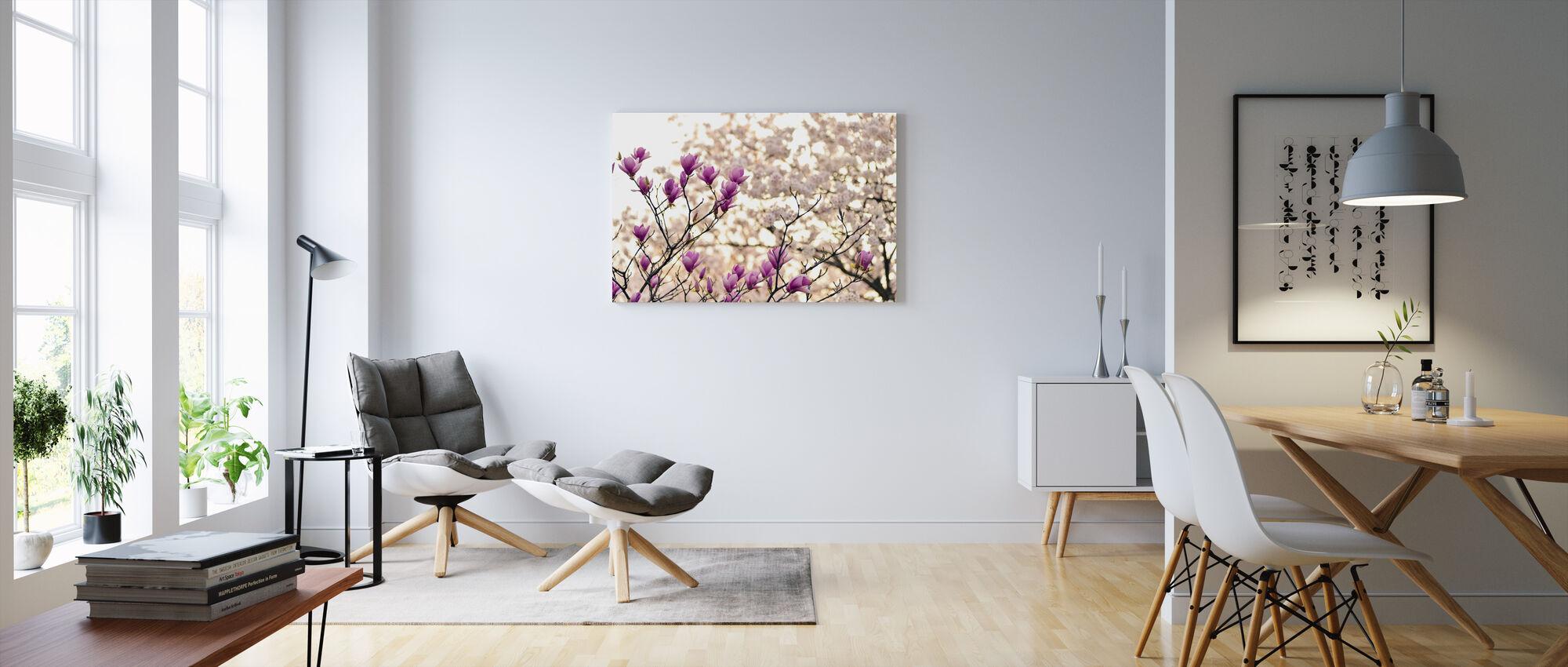 Magnolia Bloemen - Canvas print - Woonkamer