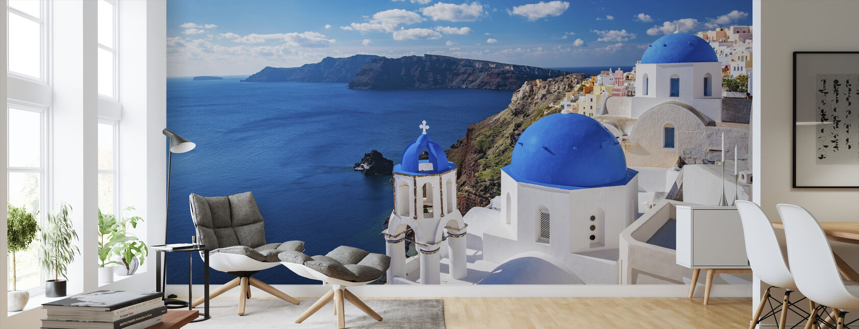 Santorini Church - Wallpaper - Living Room