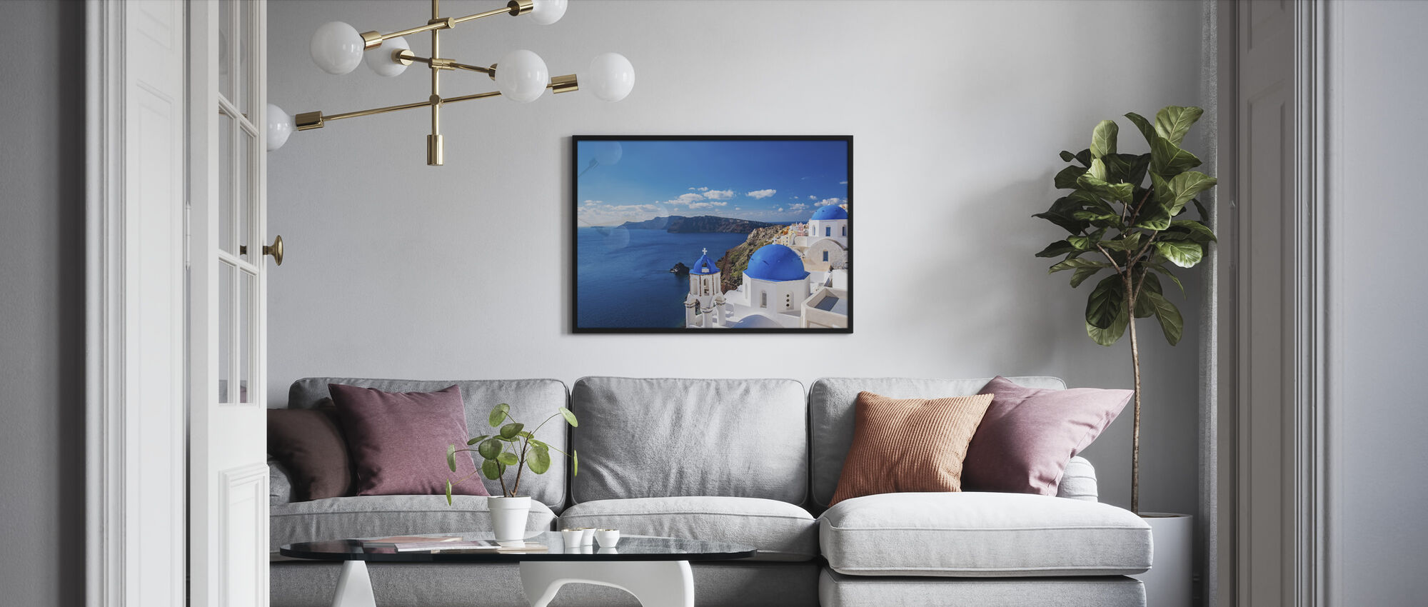 Santorini Church - Framed print - Living Room