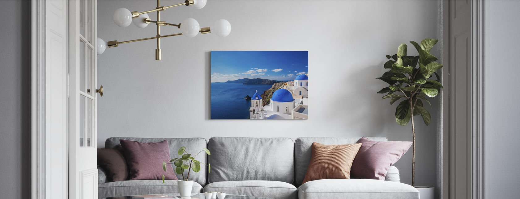 Santorini Church - Canvas print - Living Room