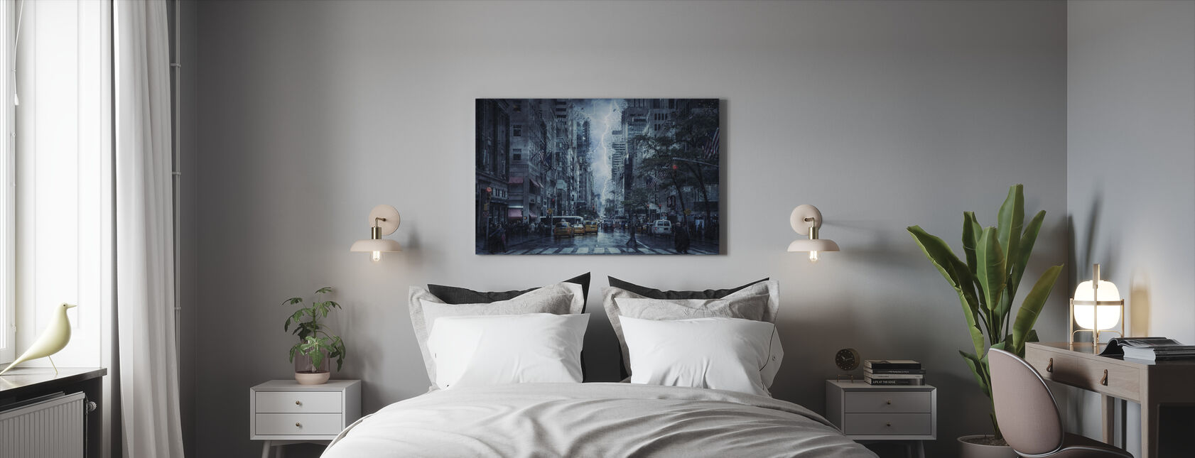 Storm in the City - Canvas print - Bedroom