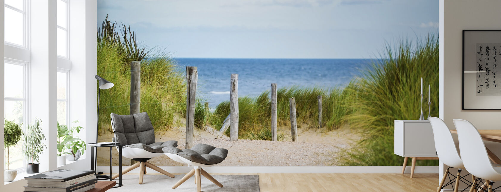 Strand hek - Behang - Woonkamer