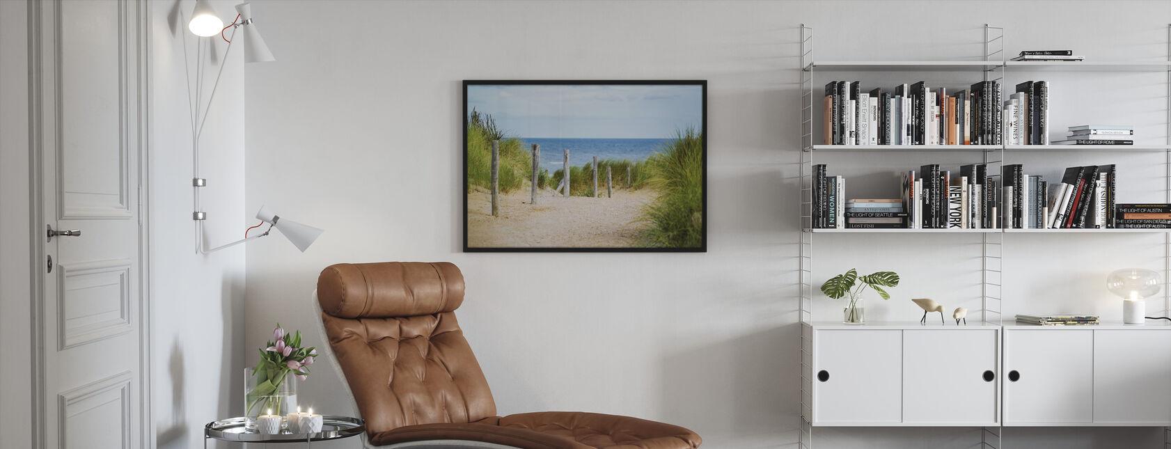 Strand hek - Ingelijste print - Woonkamer