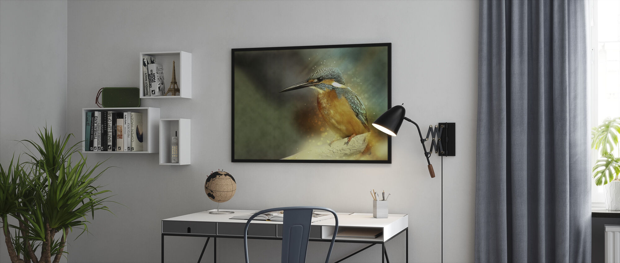 Gezetelde IJsvogel - Ingelijste print - Kantoor