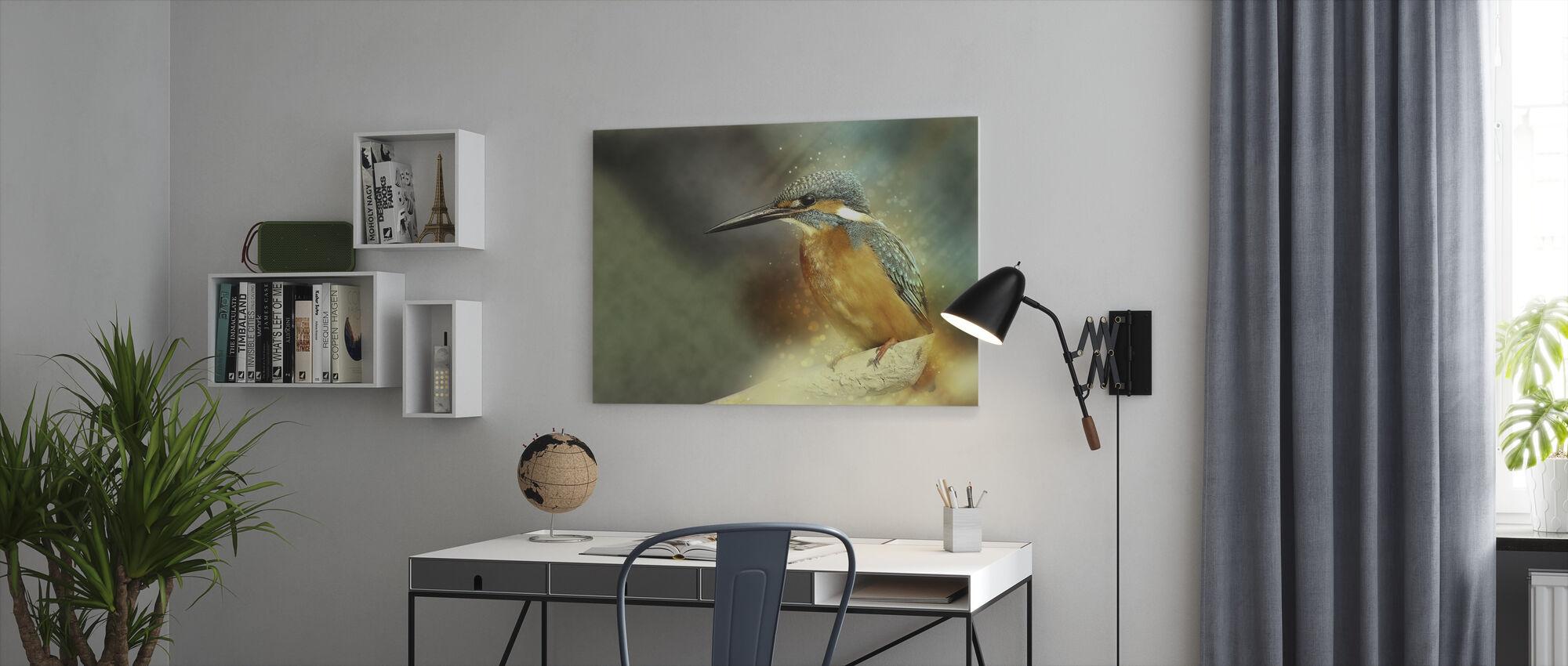 Perched Kingfisher - Billede på lærred - Kontor