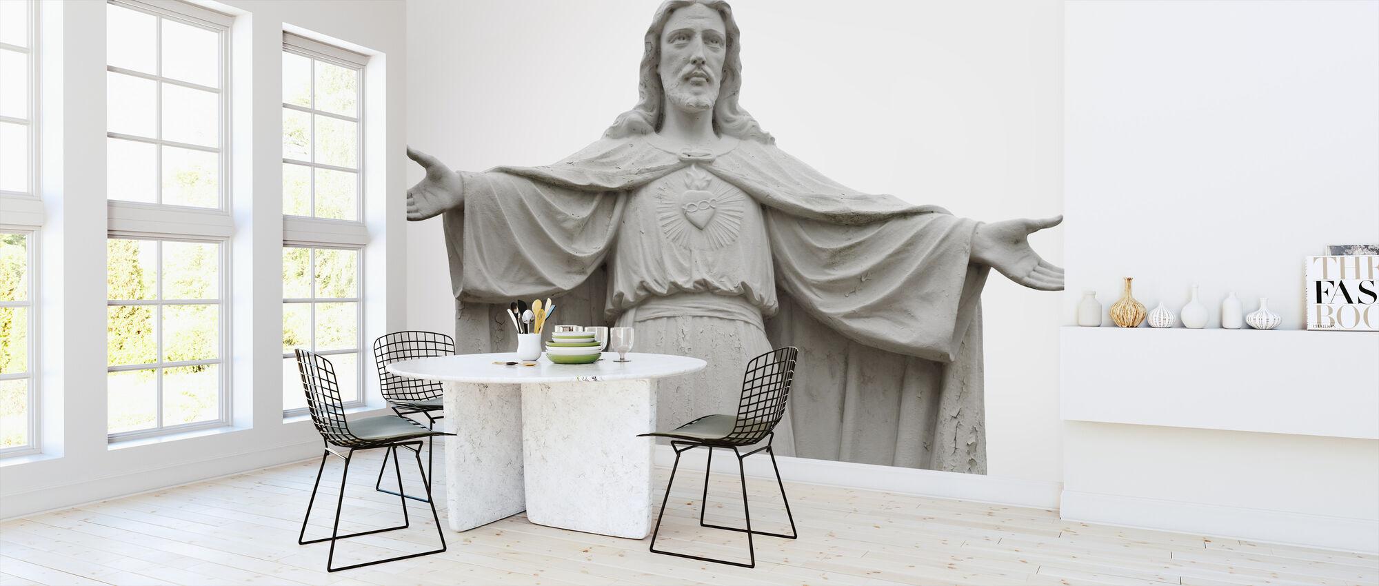 Jezus standbeeld - Behang - Keuken