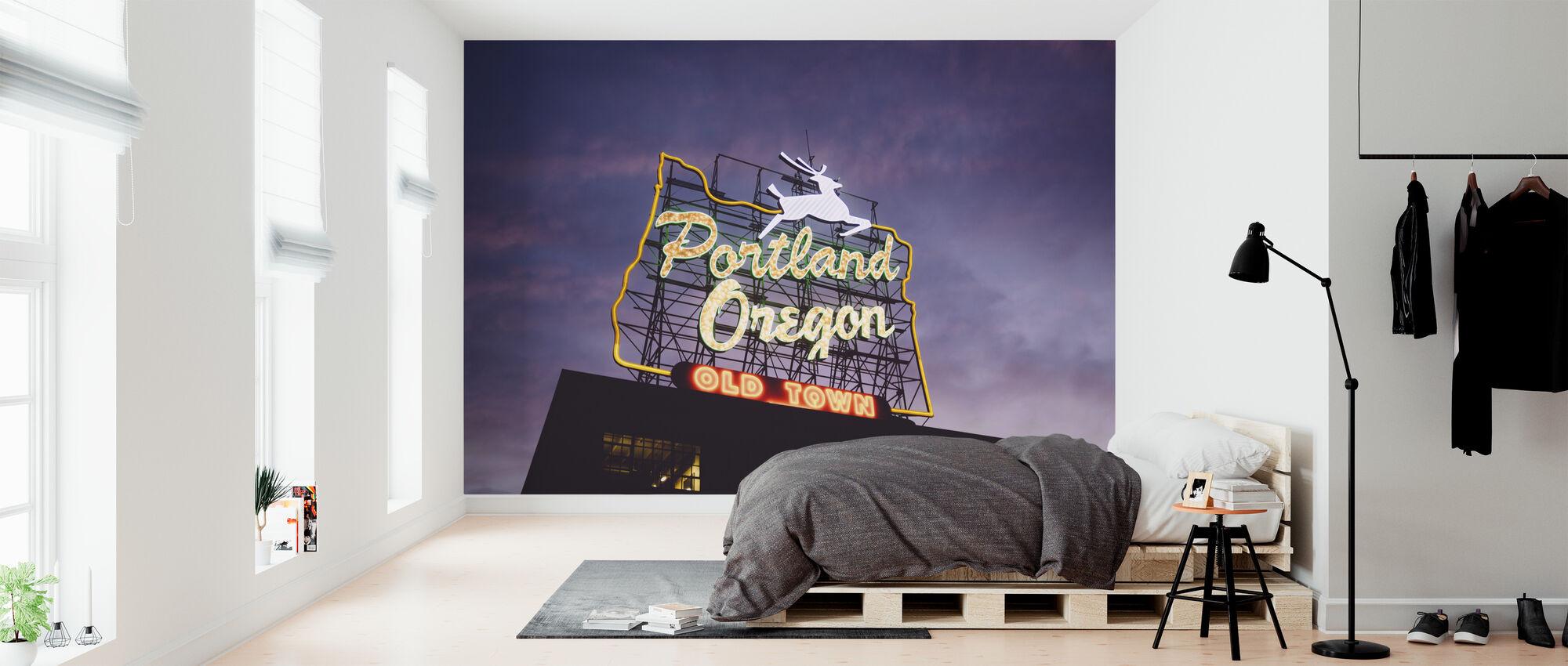 Portland Oregon Neon Sign - Wallpaper - Bedroom