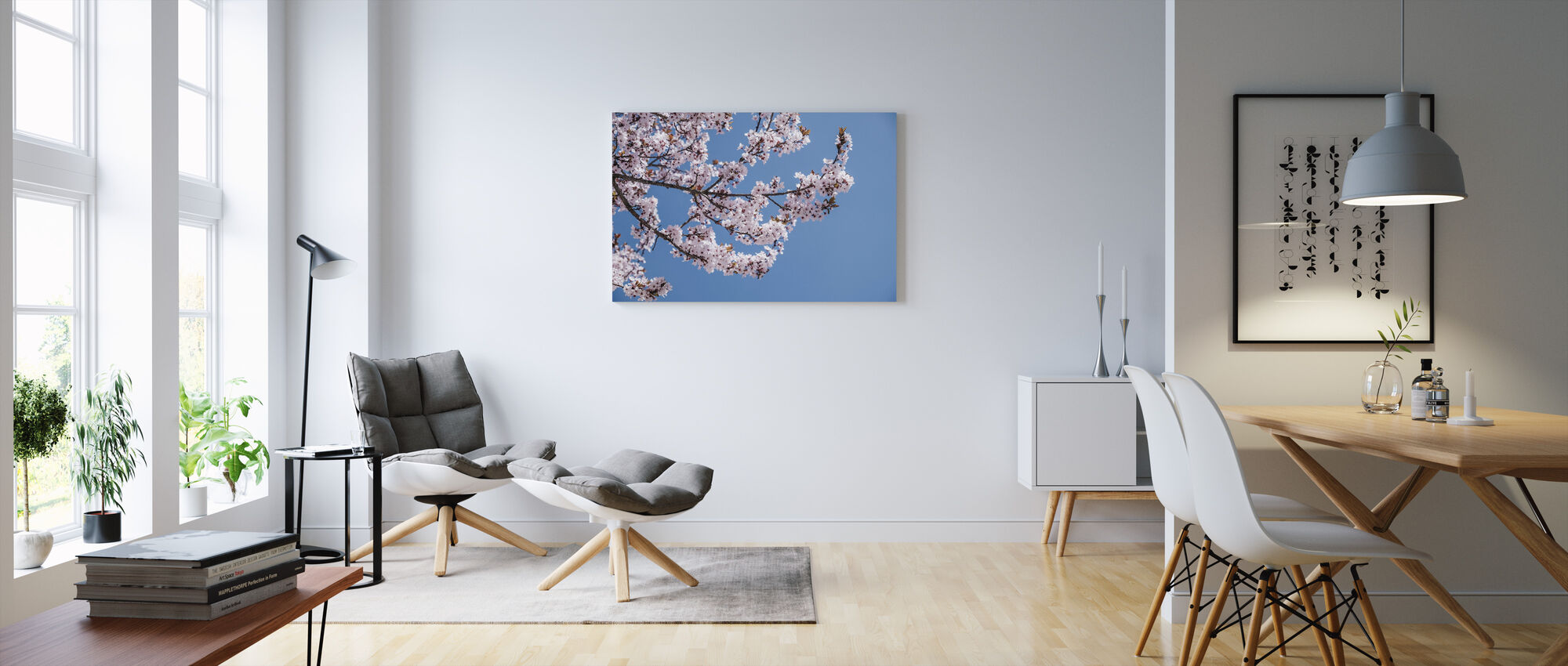 Pink Blossom Flowers - Canvas print - Living Room