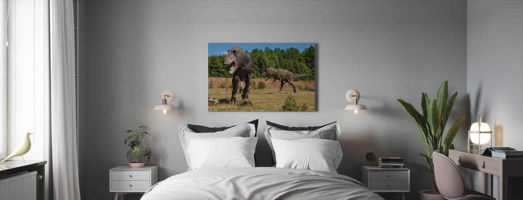 Hirveä dinosaurus - Canvastaulu - Makuuhuone