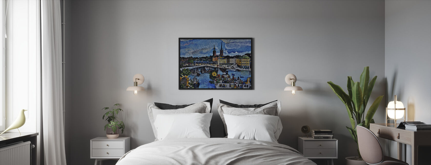 City Pier Painting - Framed print - Bedroom
