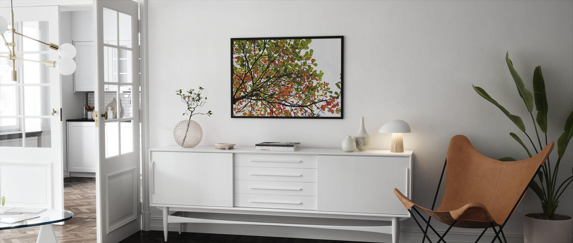 Kleurrijke Catappa Bladeren - Ingelijste print - Woonkamer