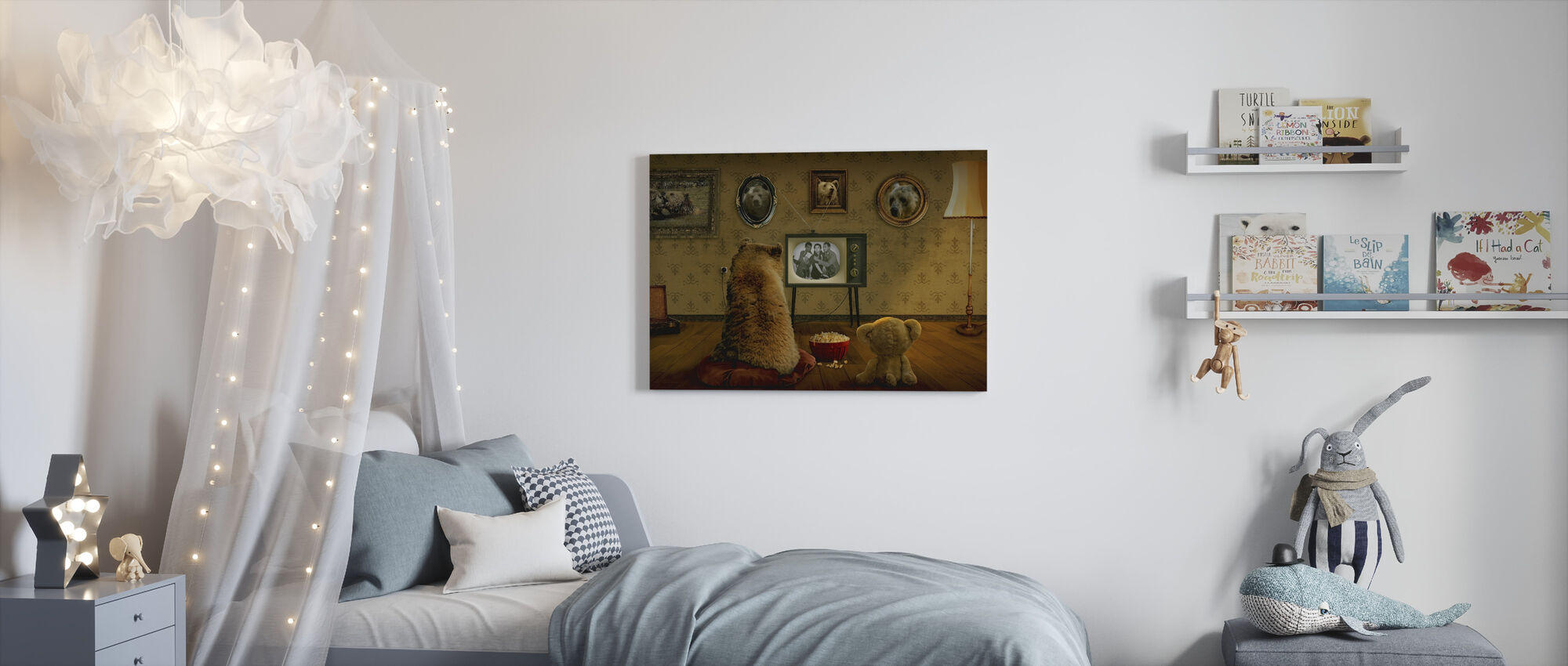 Beer en Teddy - Canvas print - Kinderkamer