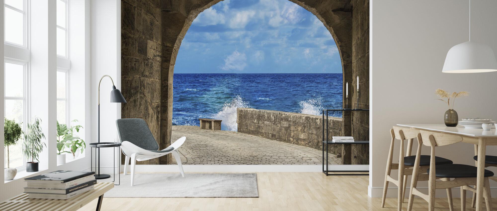 Stone Wall - Wallpaper - Living Room