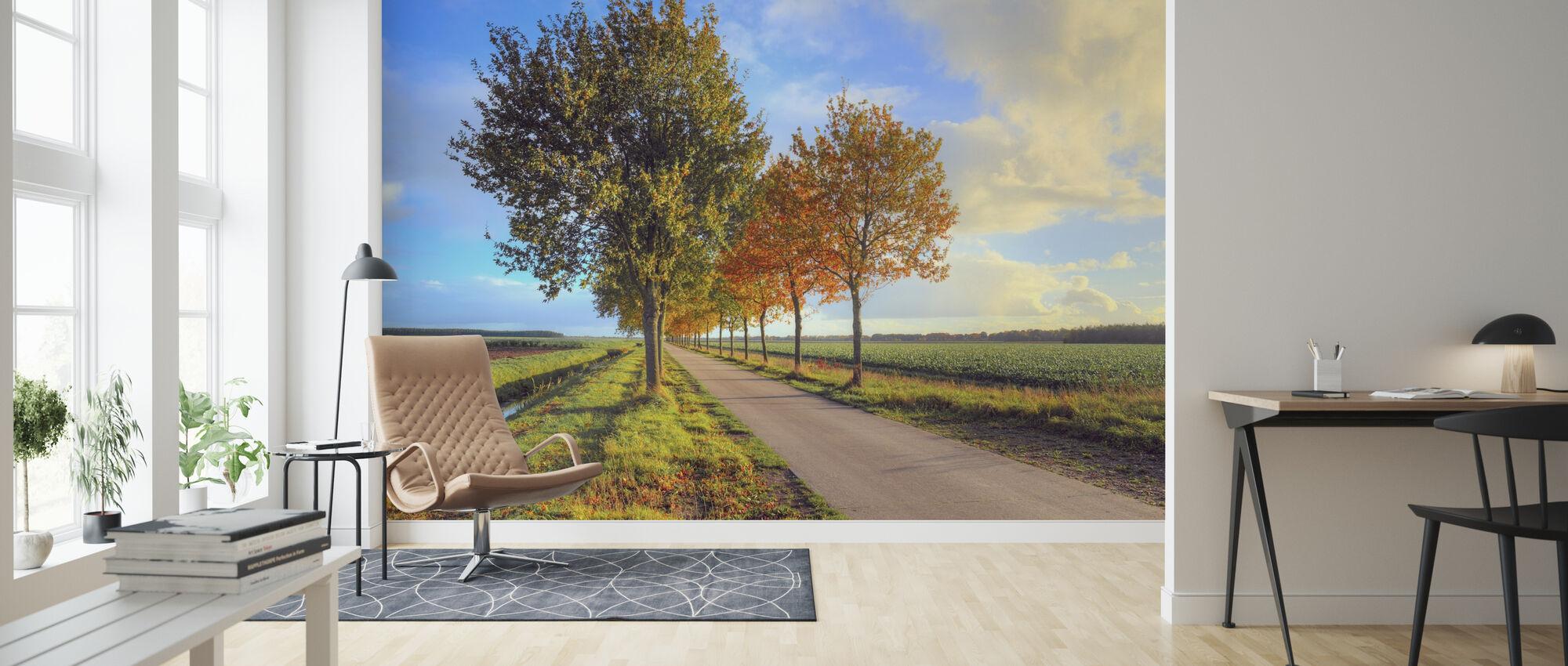 Bright Road Landscape - Wallpaper - Living Room