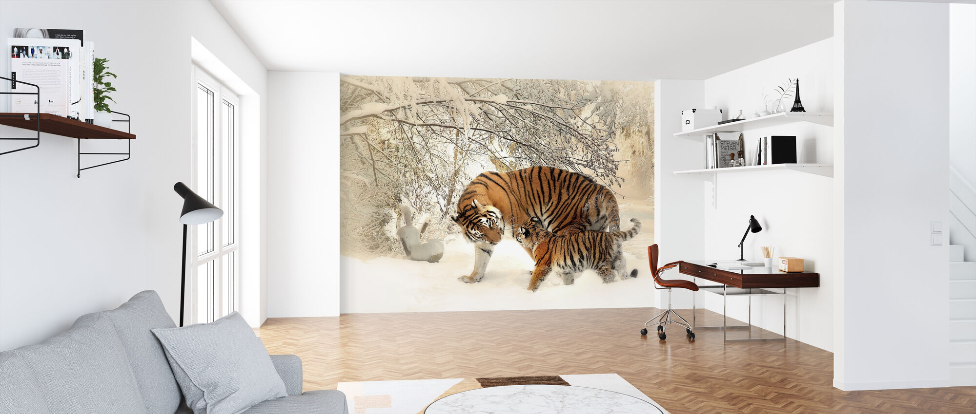 Tiger with Young Cub - Wallpaper - Office