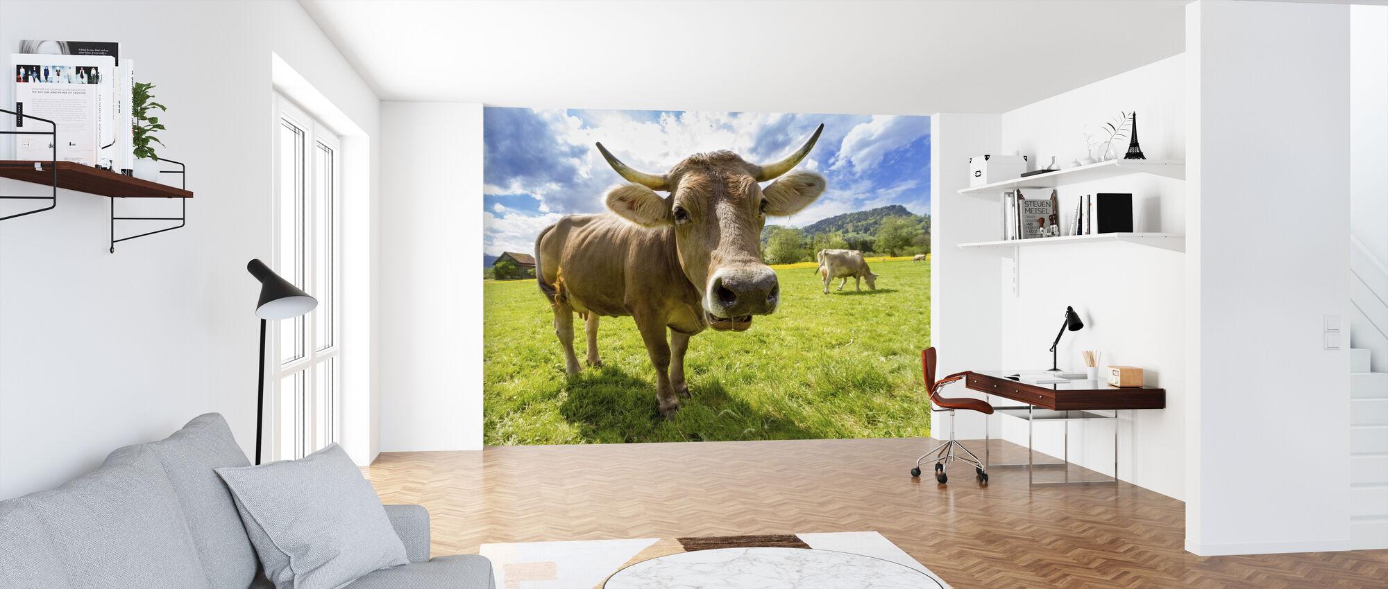 Koe dichtbij - Behang - Kantoor
