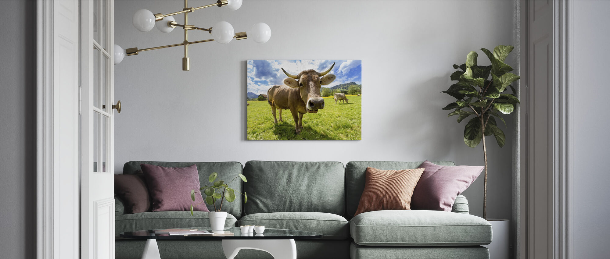 Cow Up Close - Canvas print - Living Room