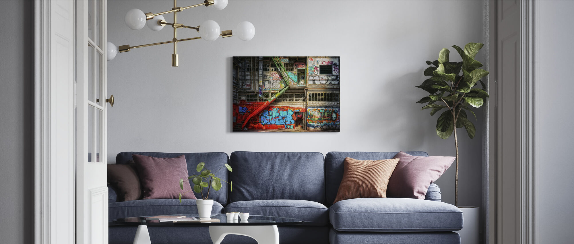 Hylätty rakennus - Canvastaulu - Olohuone