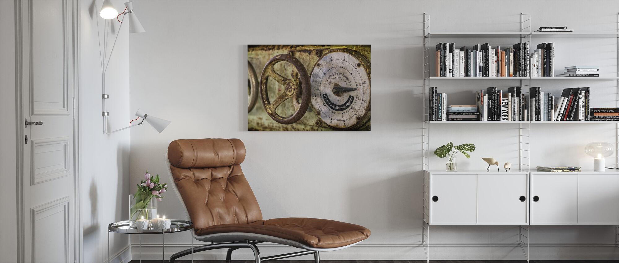 Rusty Gauge and Wheel - Canvas print - Living Room