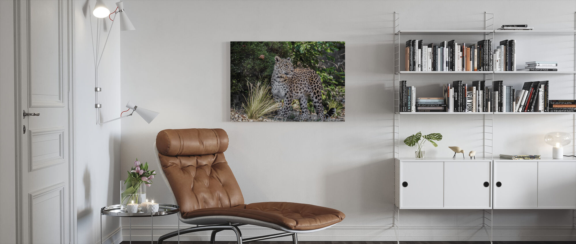 Leopard Stares - Canvas print - Living Room