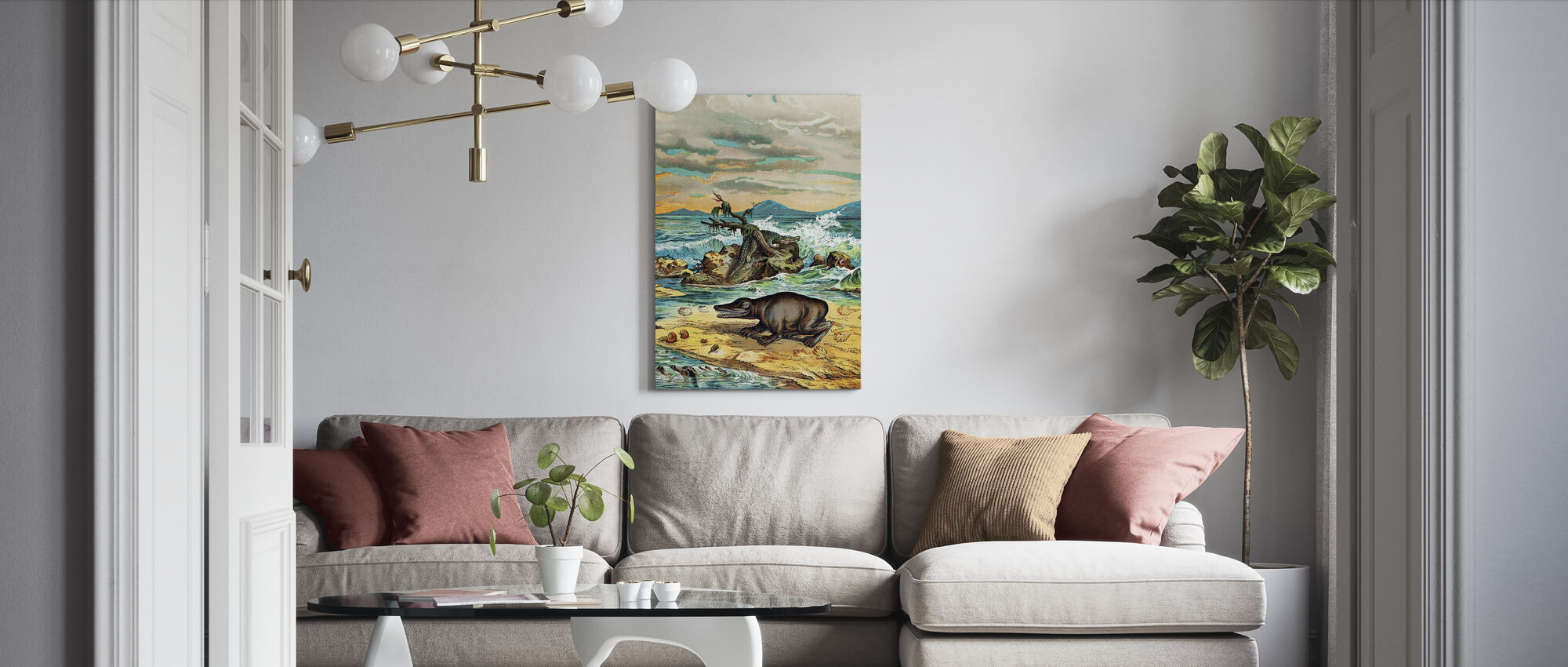 Triassic Coastal Environment - Canvas print - Living Room