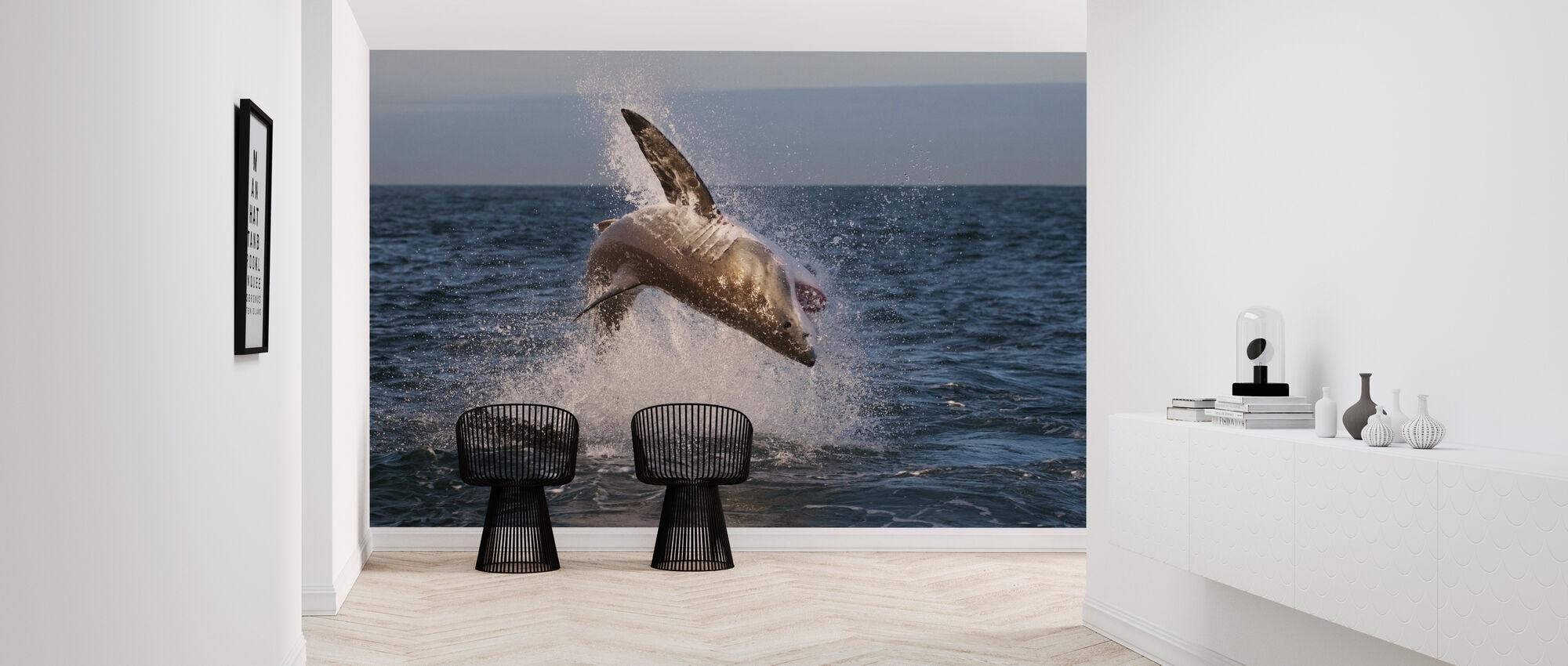 Breaching Great White Shark - Wallpaper - Hallway