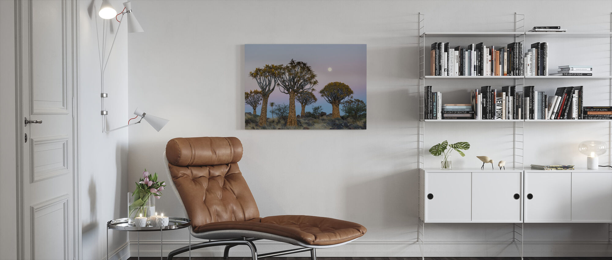 Quiver Trees and the Moon - Canvas print - Living Room
