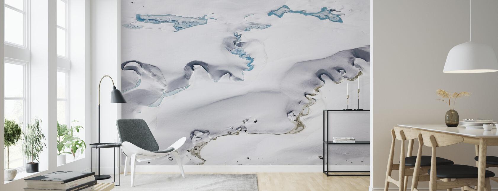 Gorner-gletsjer met smeltwaterkanalen - Behang - Woonkamer