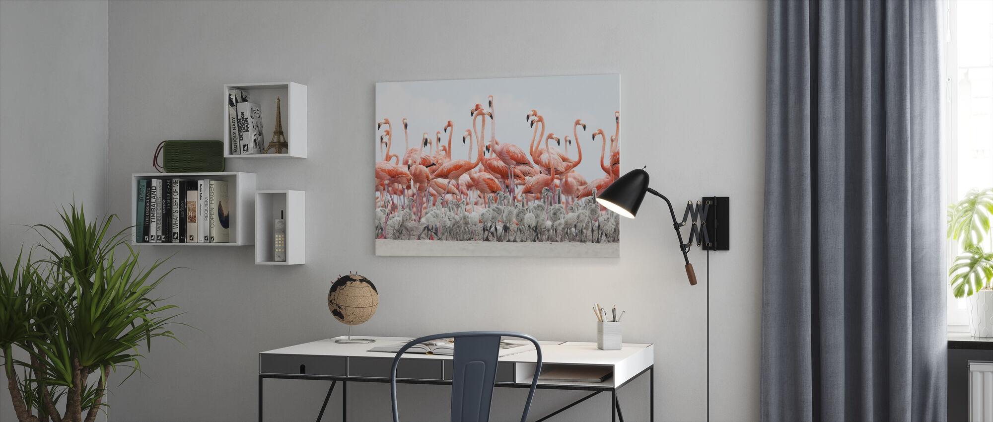 Caribbean Flamingo - Canvas print - Office
