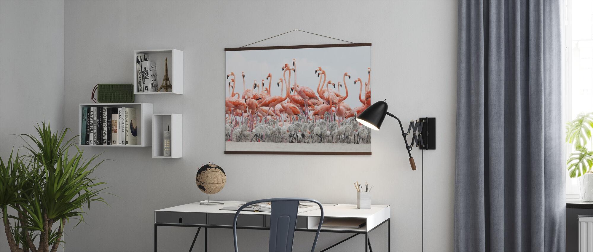 Caraïbische Flamingo - Poster - Kantoor