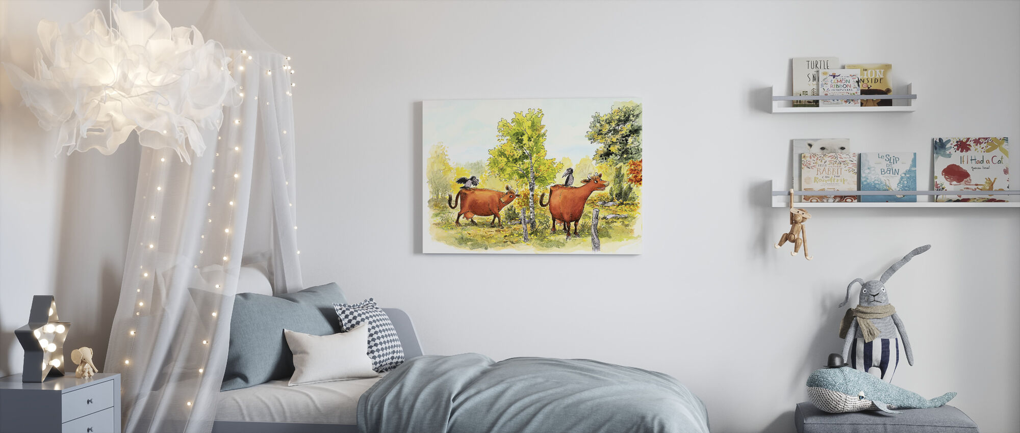 Mom Mu & Crow - Canvas print - Kids Room