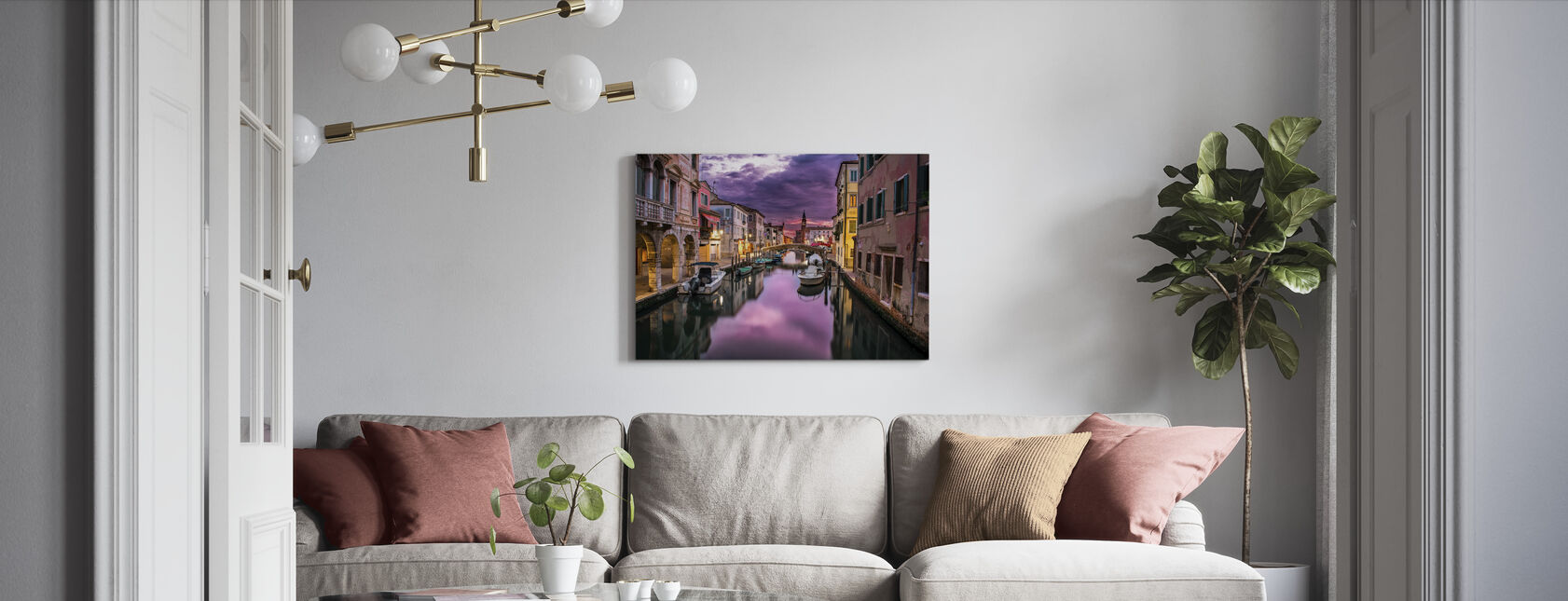 Canal i Venedig - Billede på lærred - Stue