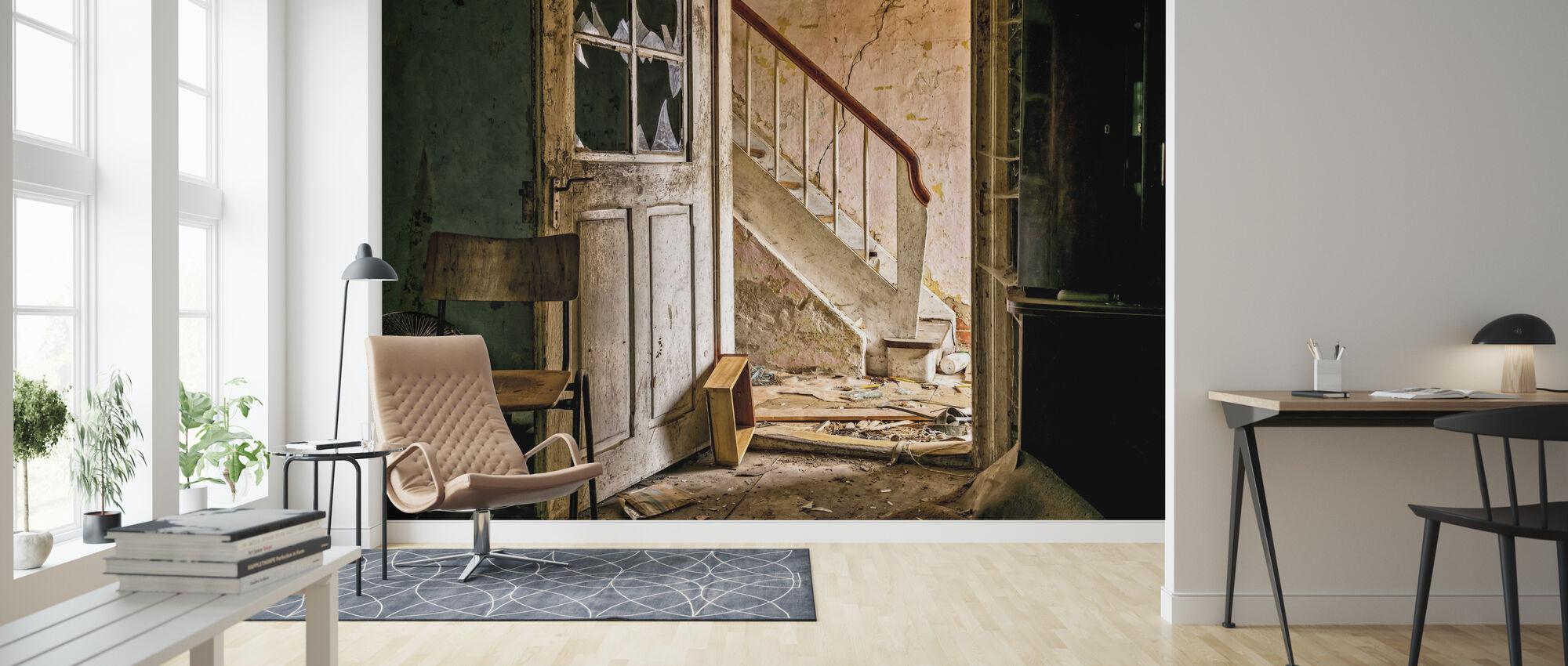 Stairs and Broken Door - Wallpaper - Living Room