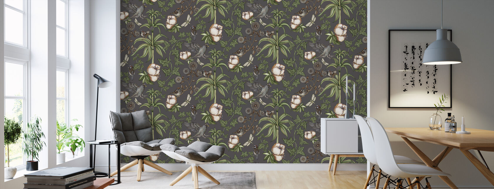 Ivy Dark Grey - Wallpaper - Living Room