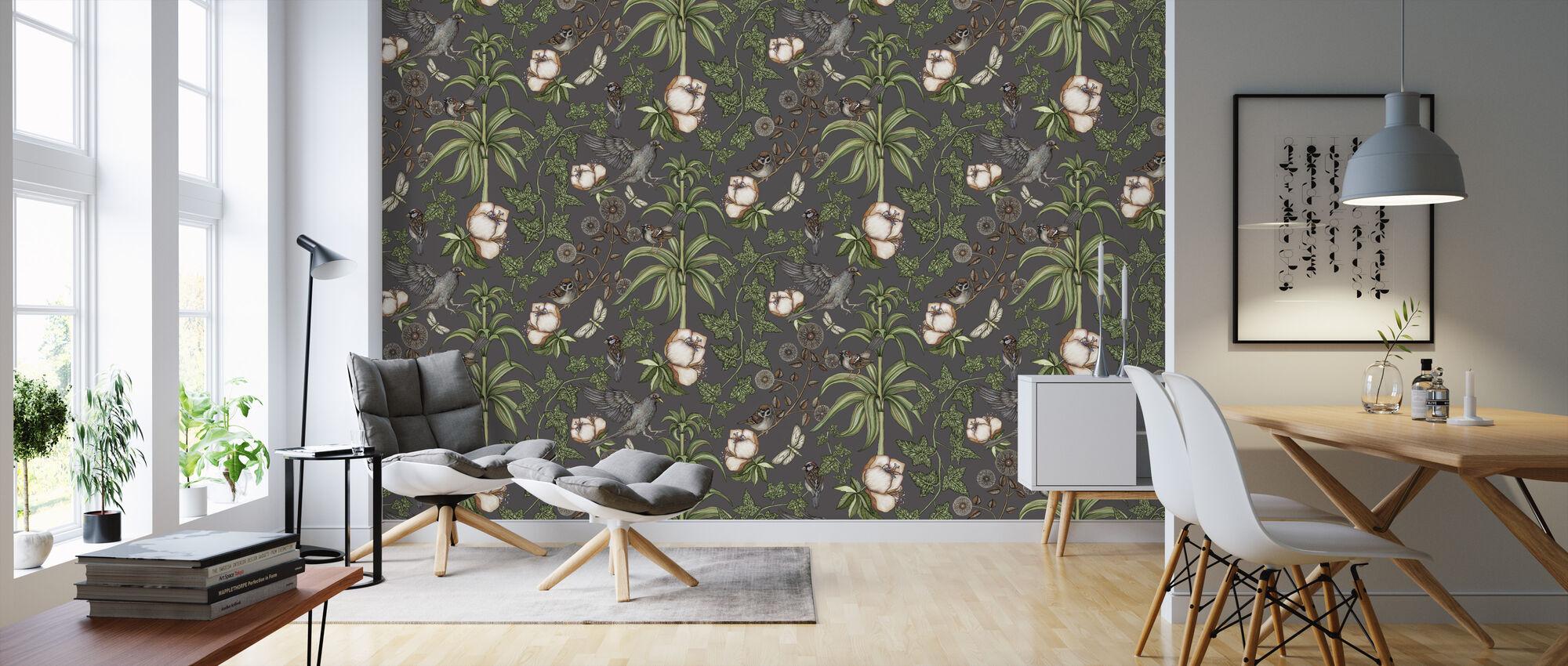 Ivy Dark Grey - Wallpaper - Living Room