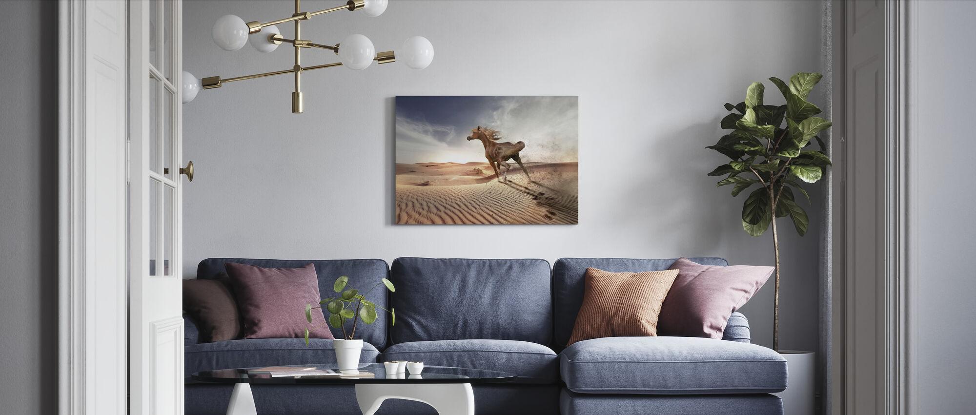 Running Horse in the Desert - Canvas print - Living Room