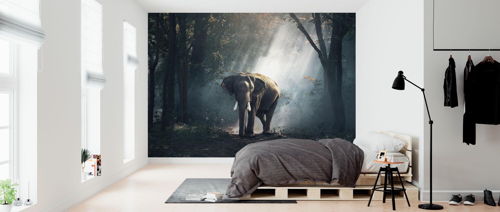 Elefantti metsässä - Tapetti - Makuuhuone