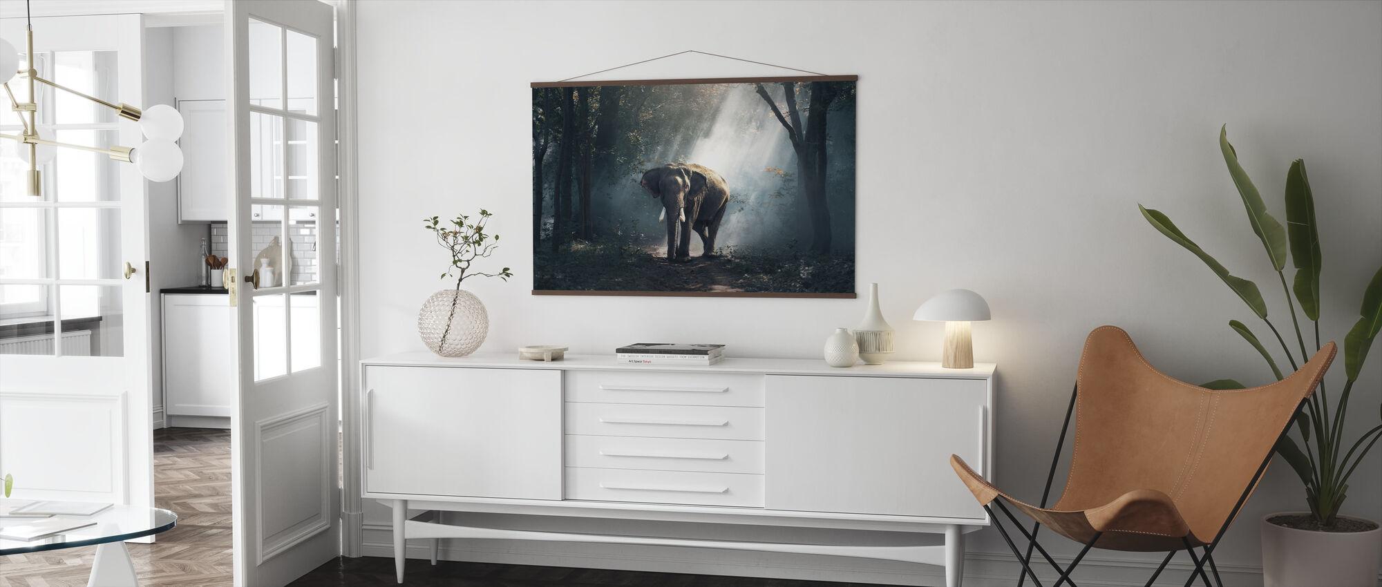 Olifant in het bos - Poster - Woonkamer