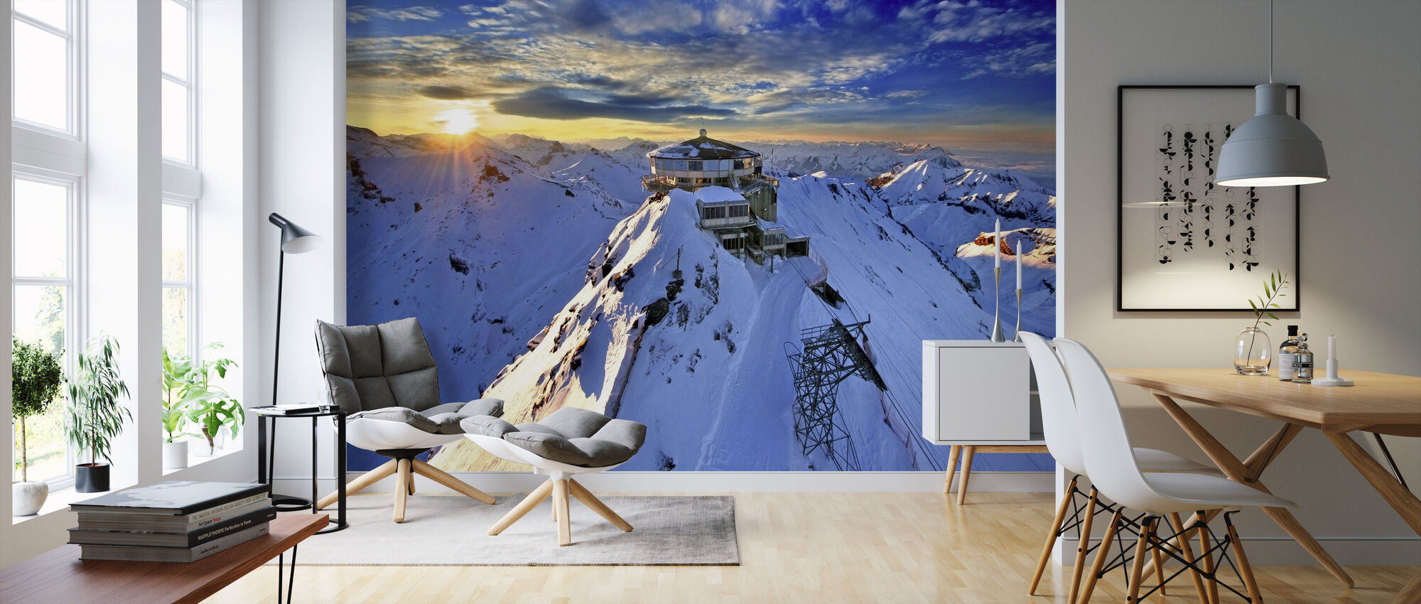 Schiltorn Mountain Station - Wallpaper - Living Room