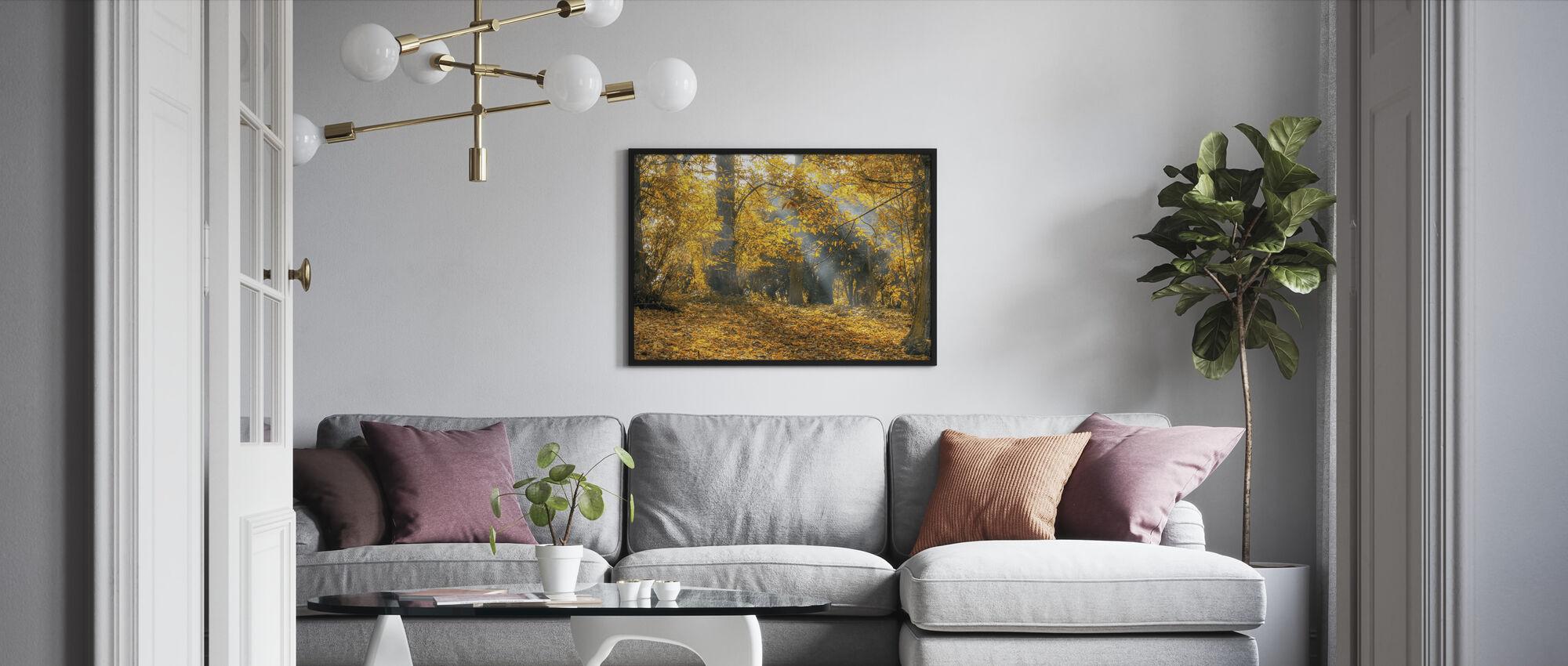 Keltainen Syksyn lehdet - Kehystetty kuva - Olohuone