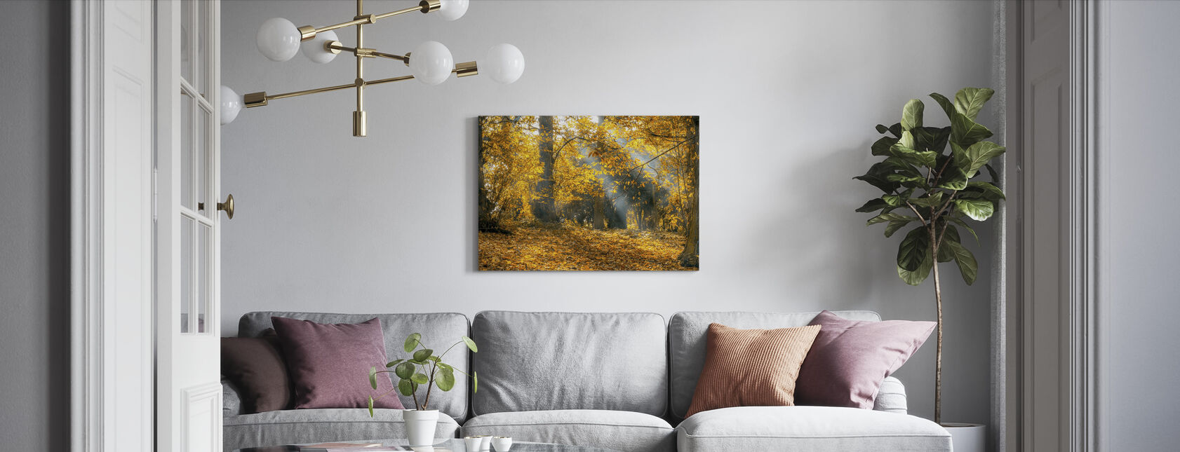 Yellow Autumn Leaves - Canvas print - Living Room